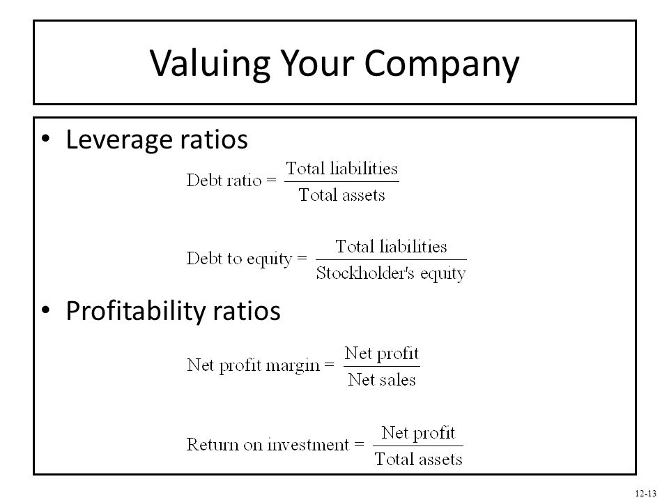 Valuing Your Company Leverage ratios Profitability ratios