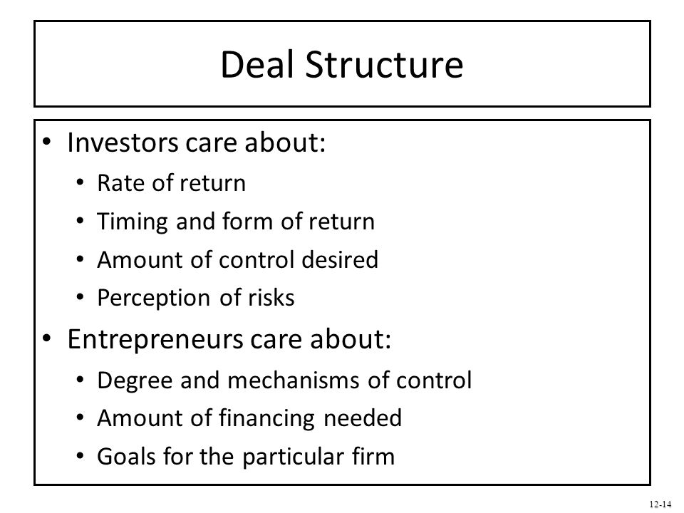 Deal Structure Investors care about: Entrepreneurs care about: