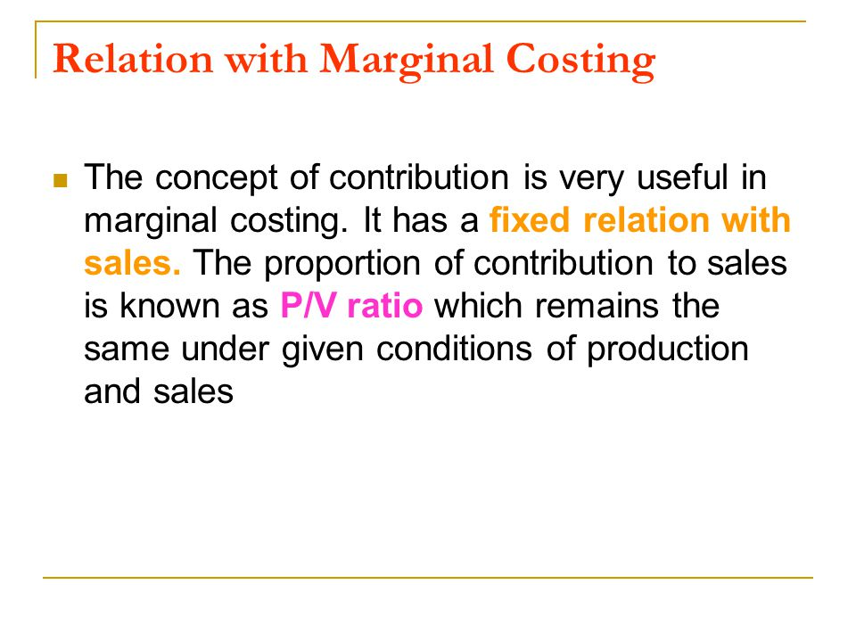 Relation with Marginal Costing