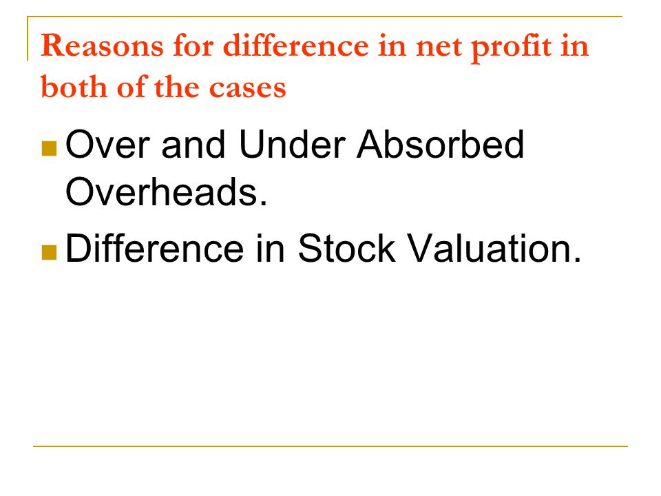 Reasons for difference in net profit in both of the cases