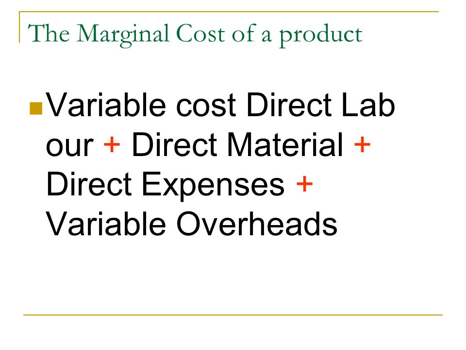 The Marginal Cost of a product