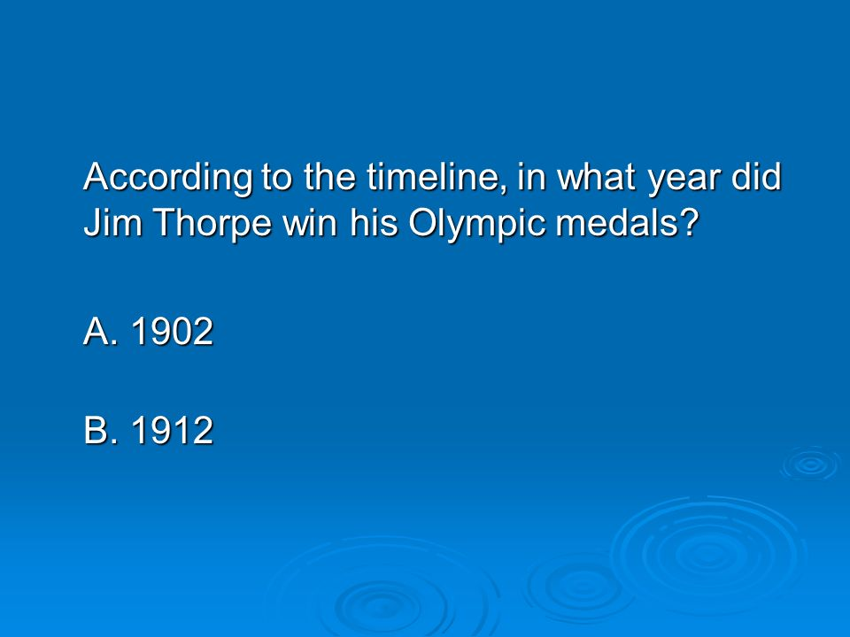 According to the timeline, in what year did Jim Thorpe win his Olympic medals