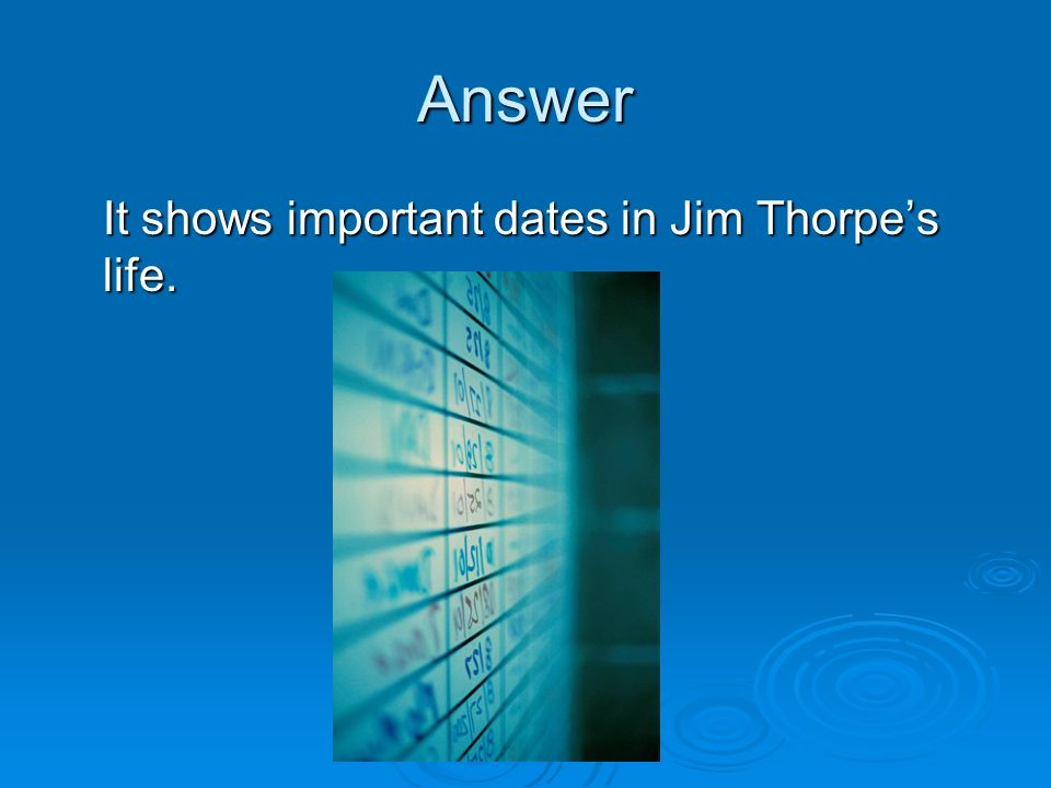 Answer It shows important dates in Jim Thorpe's life.