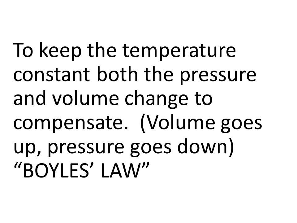 To keep the temperature constant both the pressure and volume change to compensate. (Volume goes up, pressure goes down)