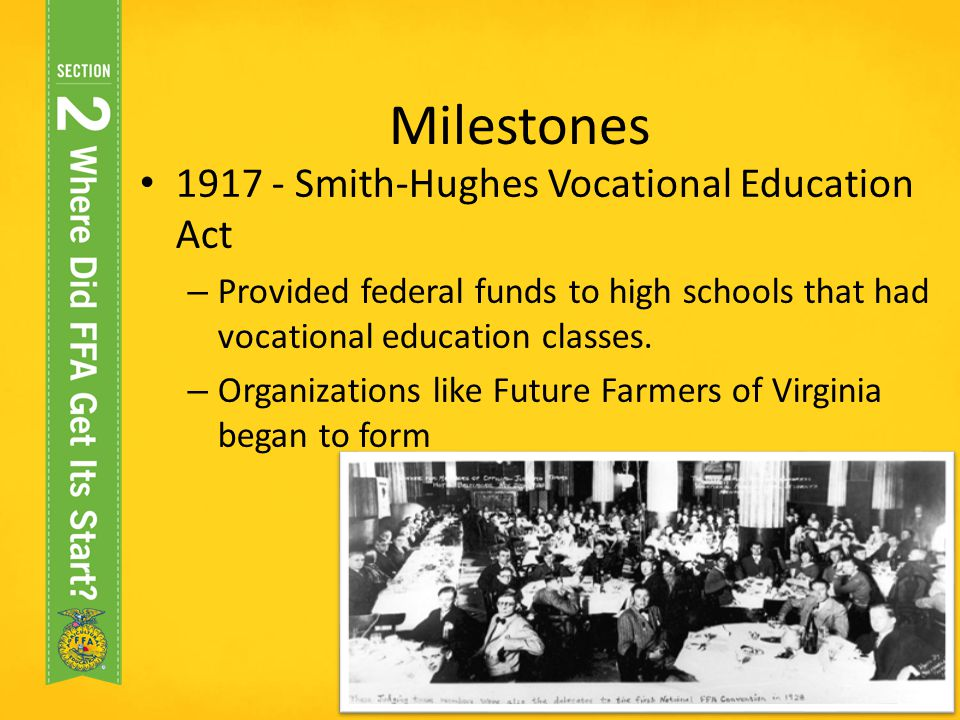 Milestones Smith-Hughes Vocational Education Act