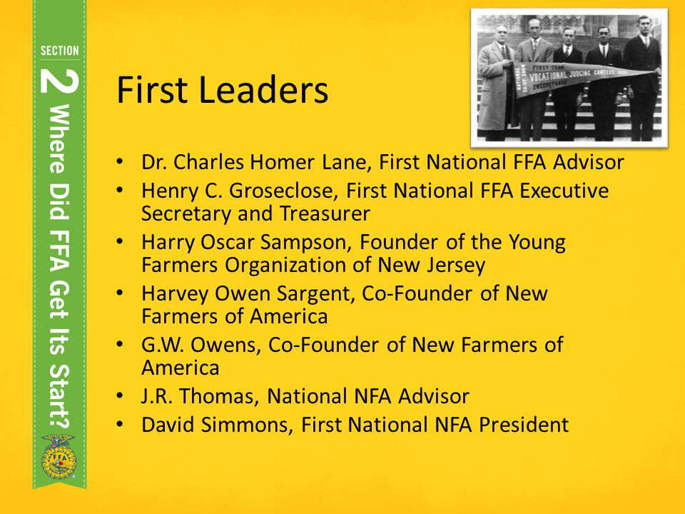 First Leaders Dr. Charles Homer Lane, First National FFA Advisor