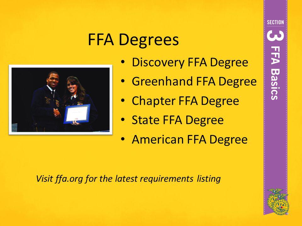 FFA Degrees Discovery FFA Degree Greenhand FFA Degree