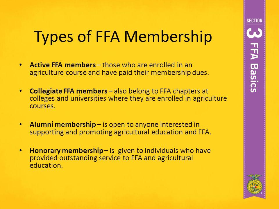 Types of FFA Membership