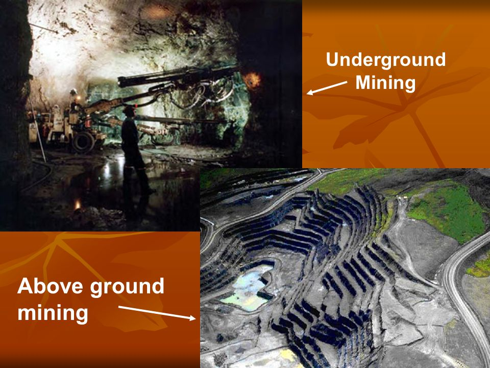 Underground Mining Above ground mining