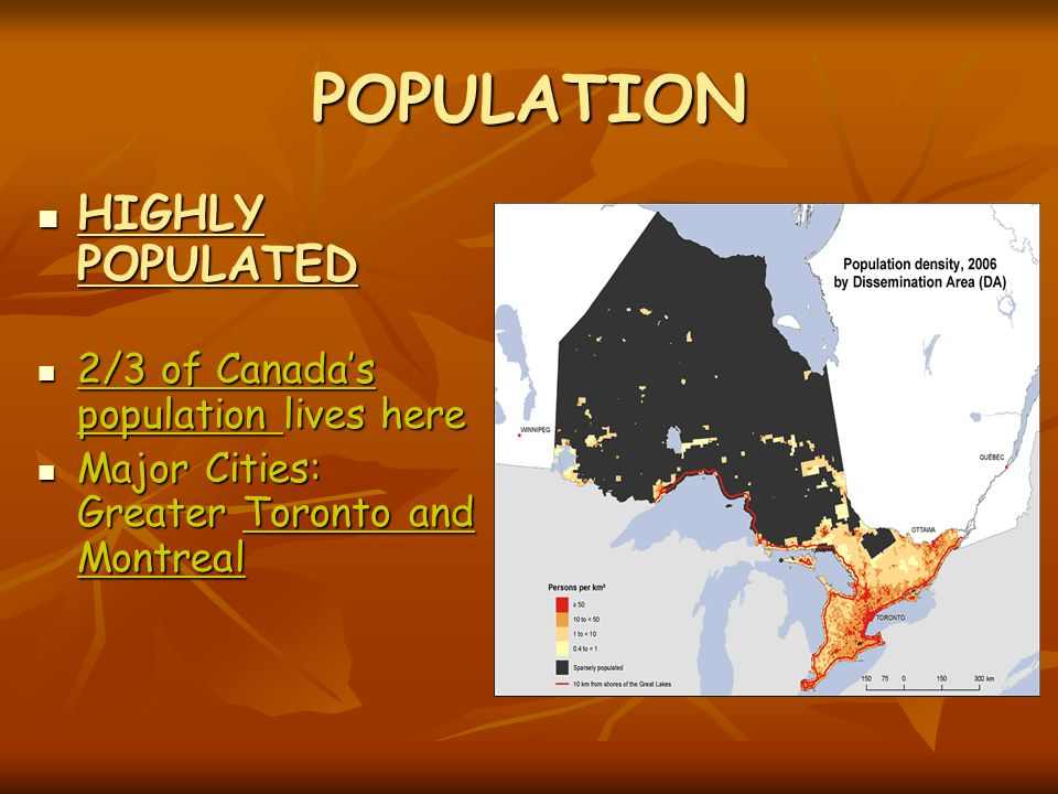 POPULATION HIGHLY POPULATED 2/3 of Canada's population lives here