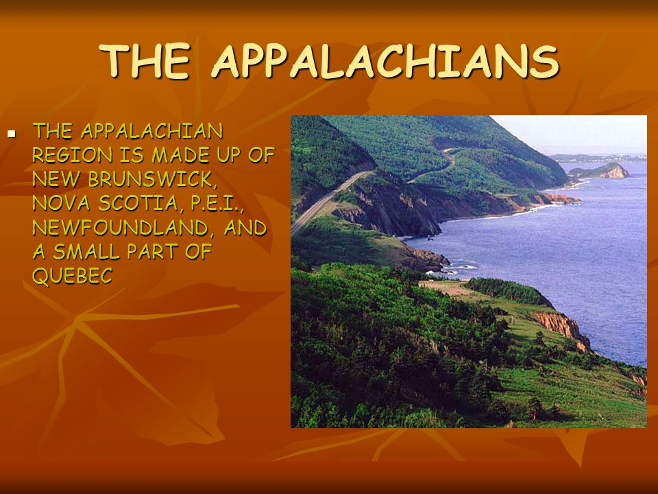 THE APPALACHIANS THE APPALACHIAN REGION IS MADE UP OF NEW BRUNSWICK, NOVA SCOTIA, P.E.I., NEWFOUNDLAND, AND A SMALL PART OF QUEBEC.