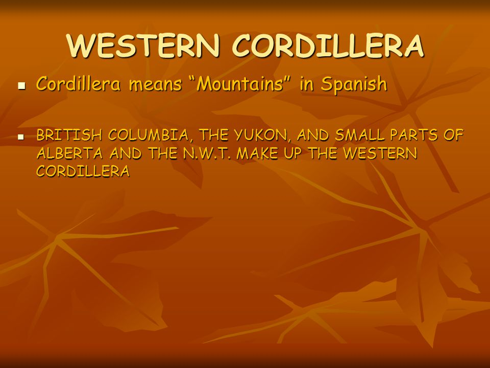 WESTERN CORDILLERA Cordillera means Mountains in Spanish