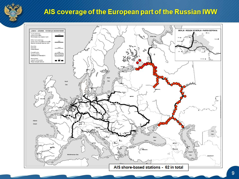 AIS coverage of the European part of the Russian IWW