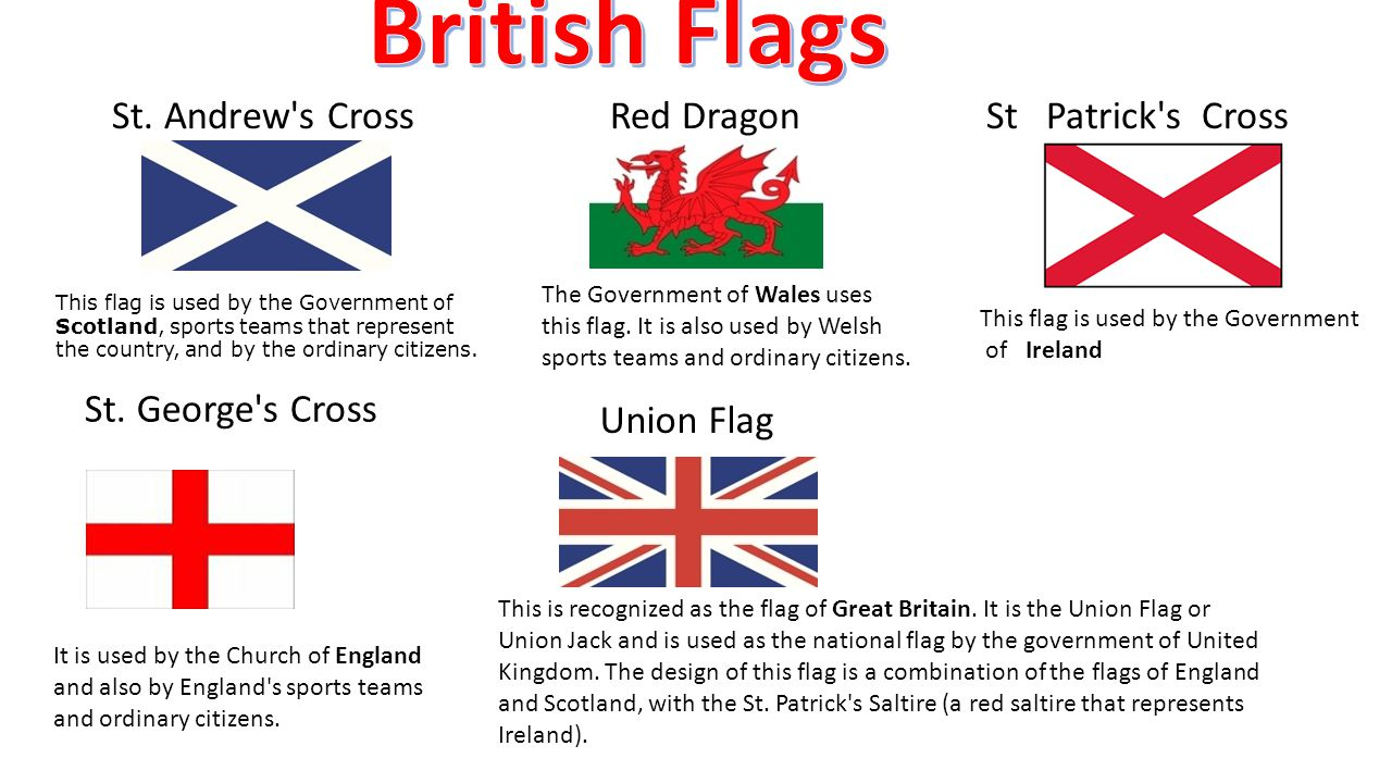 British Flags St. Andrew s Cross Red Dragon St Patrick s Cross