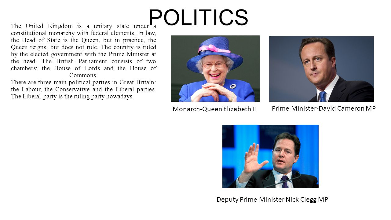POLITICS Monarch-Queen Elizabeth II Prime Minister-David Cameron MP