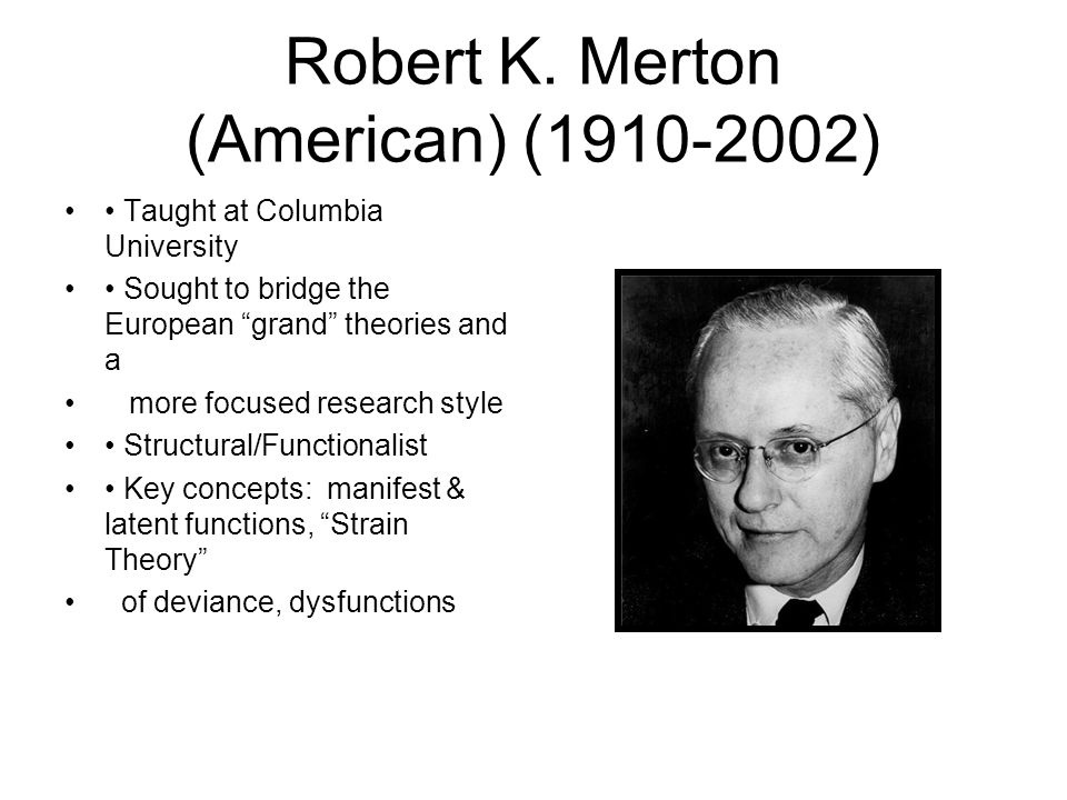 with refernce to robert merton strain Robert king merton was a distinguished american sociologist the term grew from his theory of a reference robert k merton: merton thesis, strain.