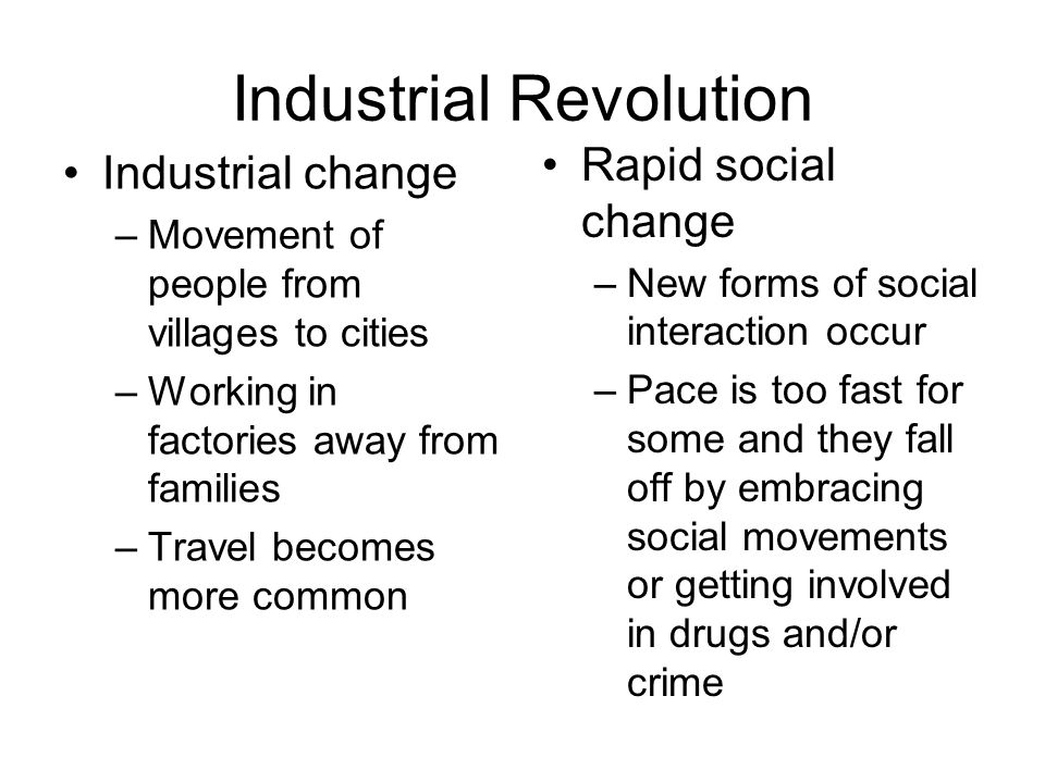 sociology and the industrial revolution This essay serves to outline the factors that contributed to the rise of the rise and development of sociology is industrial revolution was a period.