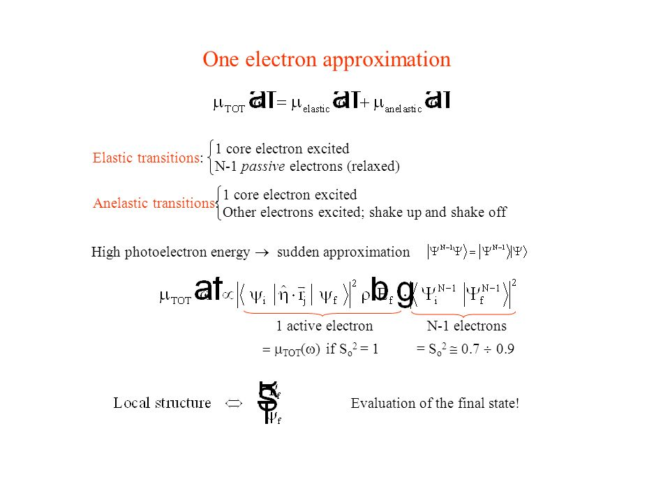 One electron approximation
