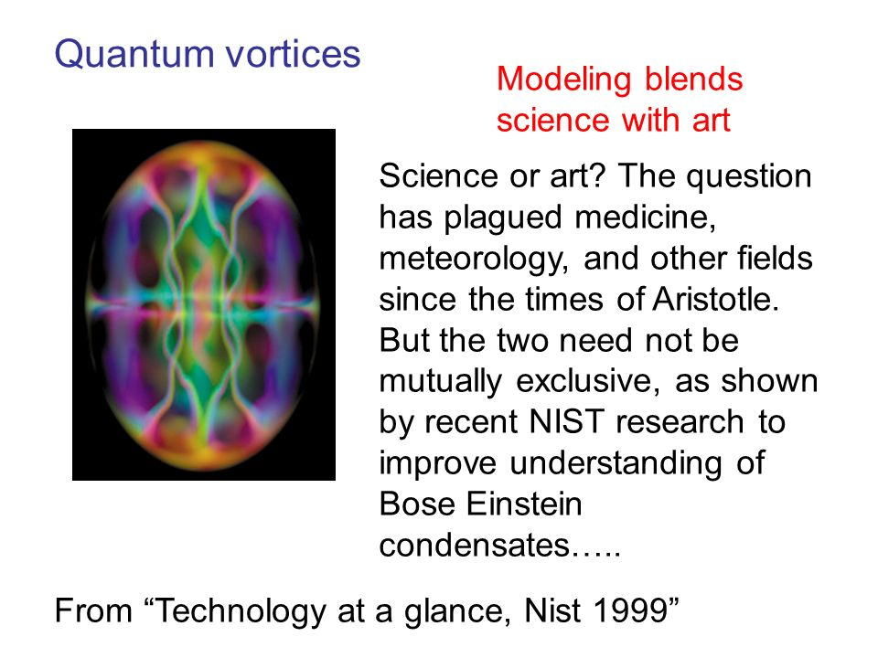 Quantum vortices Modeling blends science with art