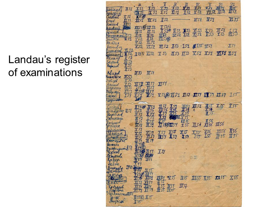 Landau's register of examinations
