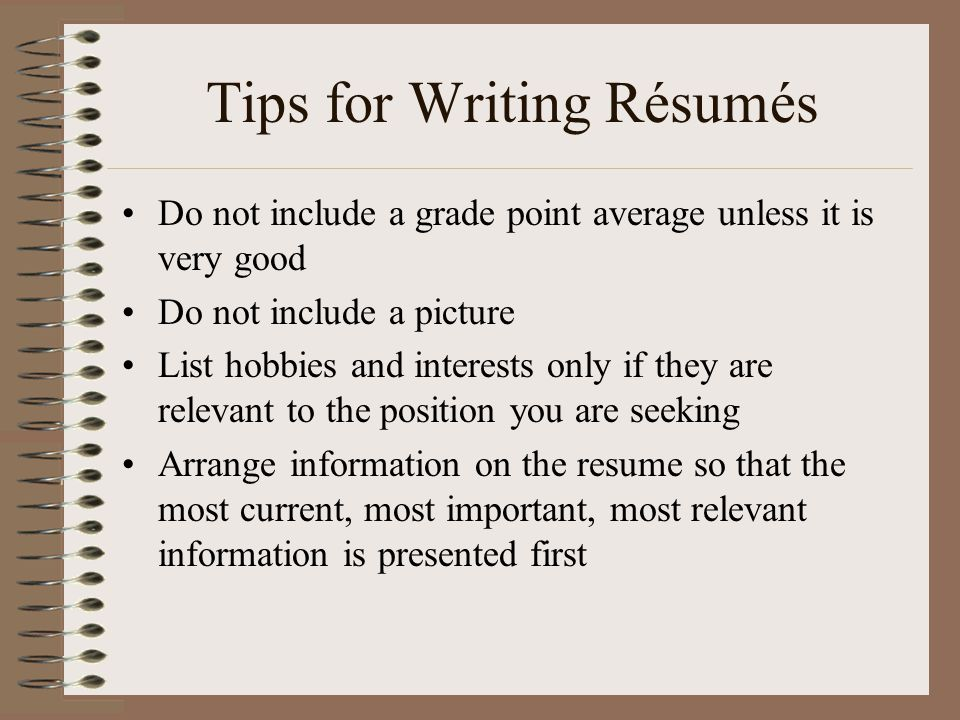 tips in writing a resume