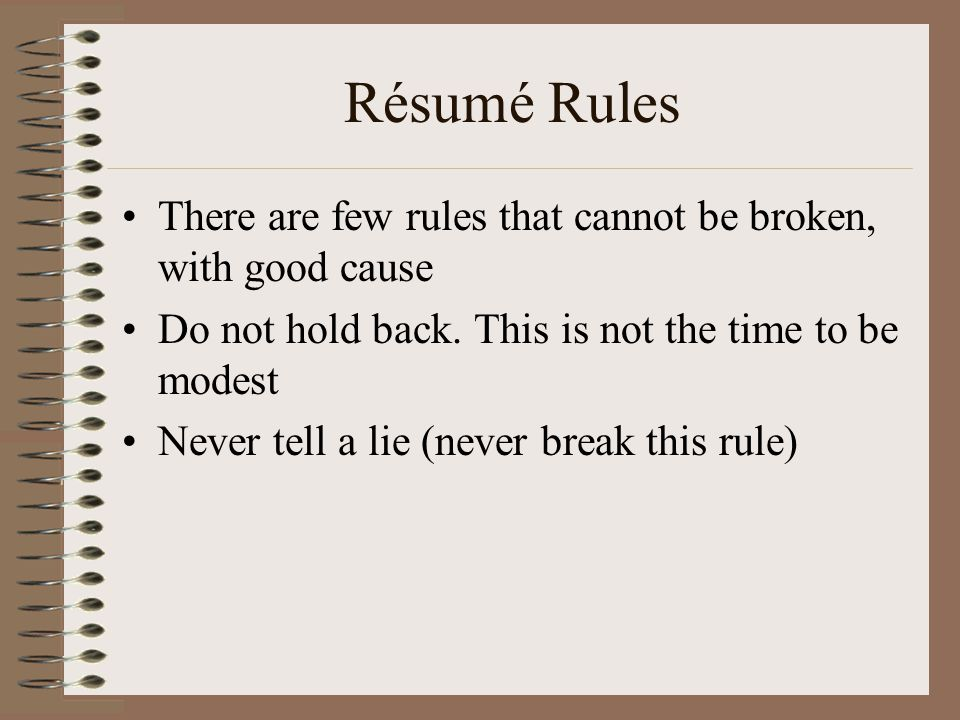 8 rsum rules - Resume Rules