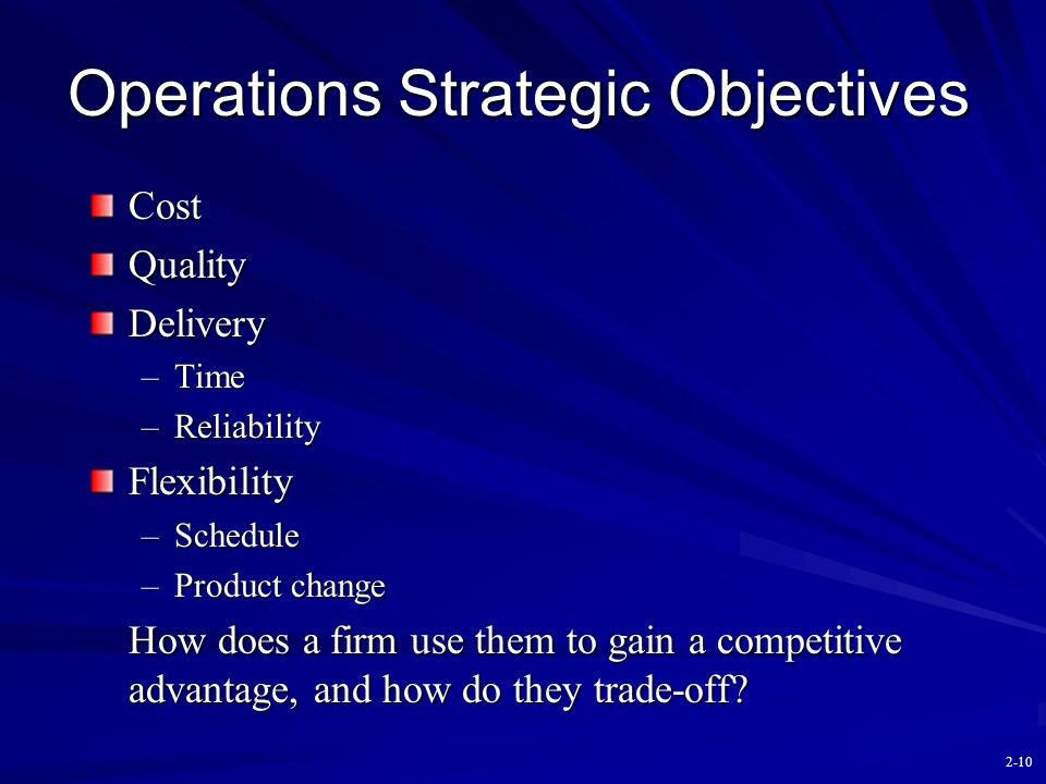 Operations Strategic Objectives