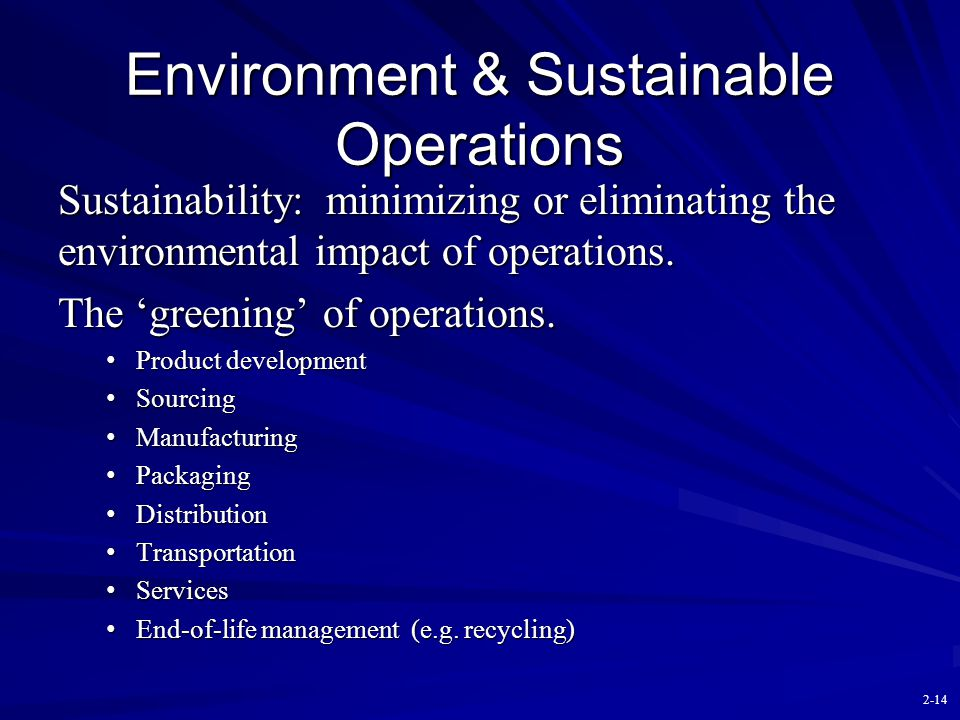 Environment & Sustainable Operations