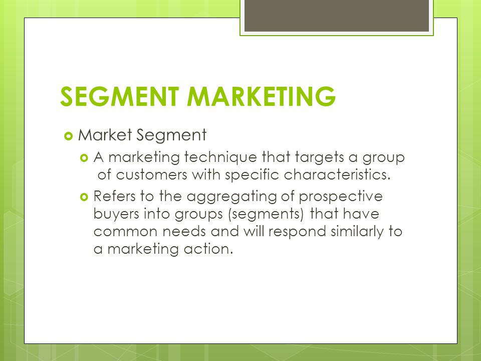 SEGMENT MARKETING Market Segment