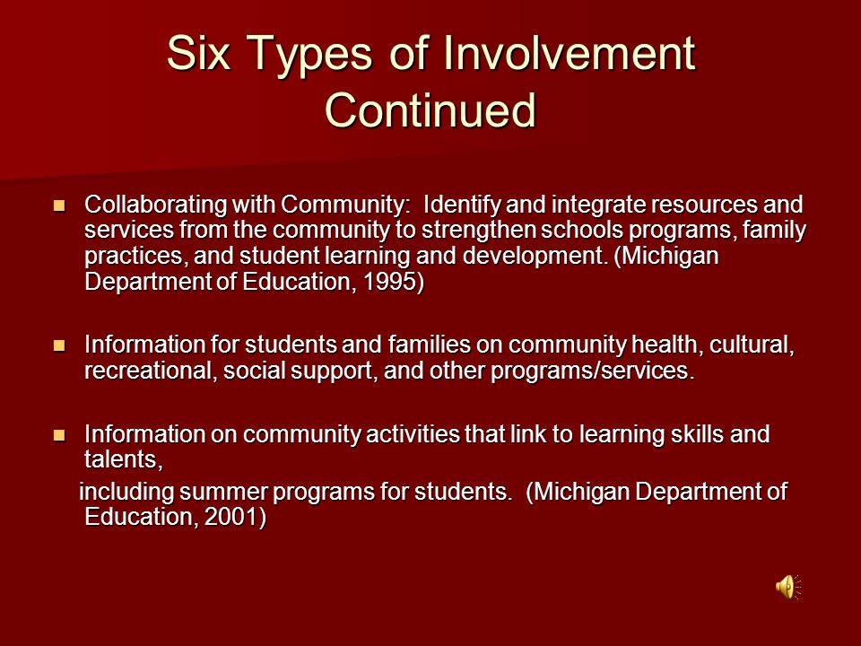Six Types of Involvement Continued