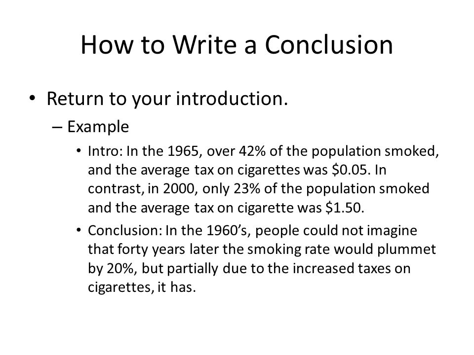 Conclusion example from a literature paper