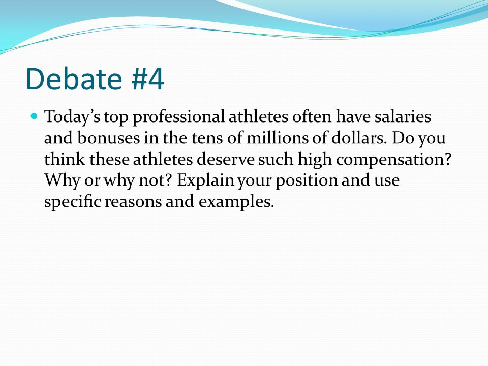 athletes high salaries essay Transcript of the high salaries of athletes most entertainers and athletes don't spend the high salaries persuasive essay today, entertainers and athletes.