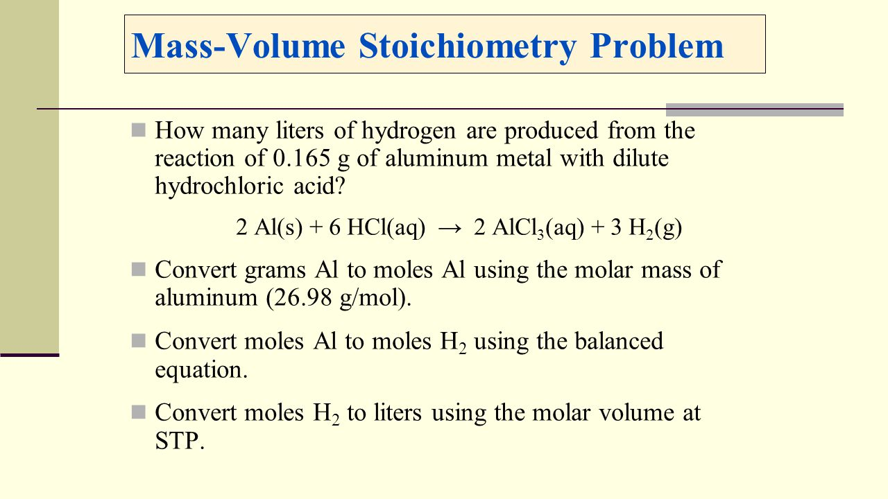 Massvolume Stoichiometry Problem Gas Stoiciometry Not At Stp Moleculevolume  Calculation