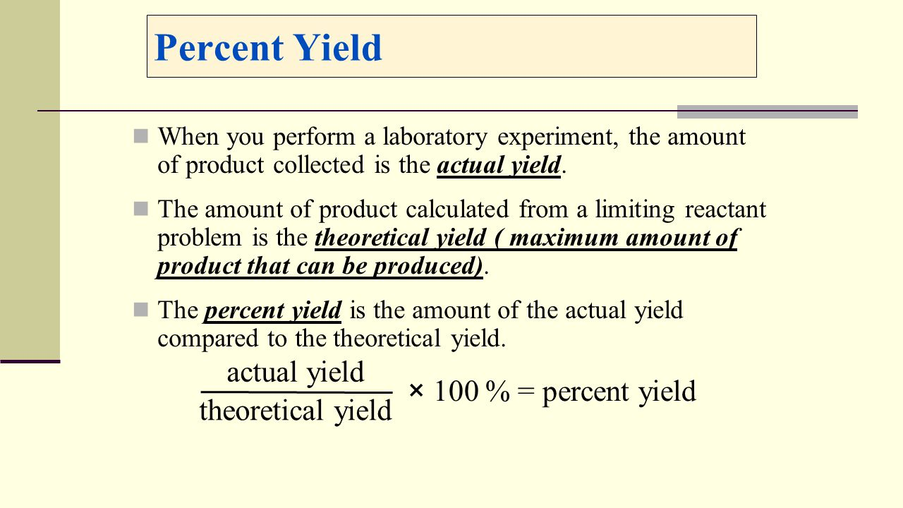 67 Percent Yield How To Find
