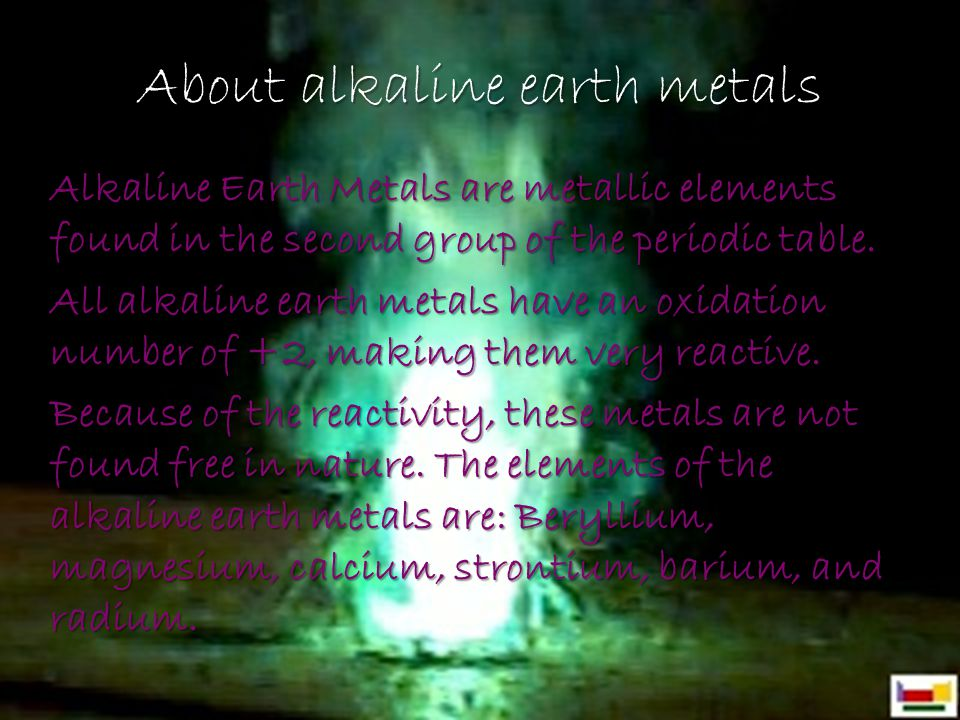 About alkaline earth metals