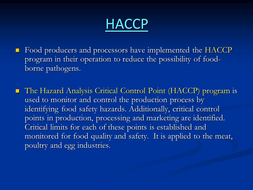 HACCP and poultry