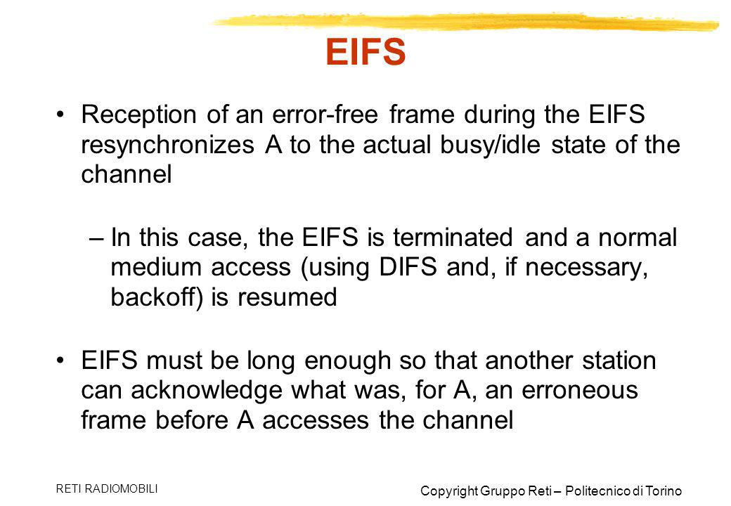 EIFS Reception of an error-free frame during the EIFS resynchronizes A to the actual busy/idle state of the channel.