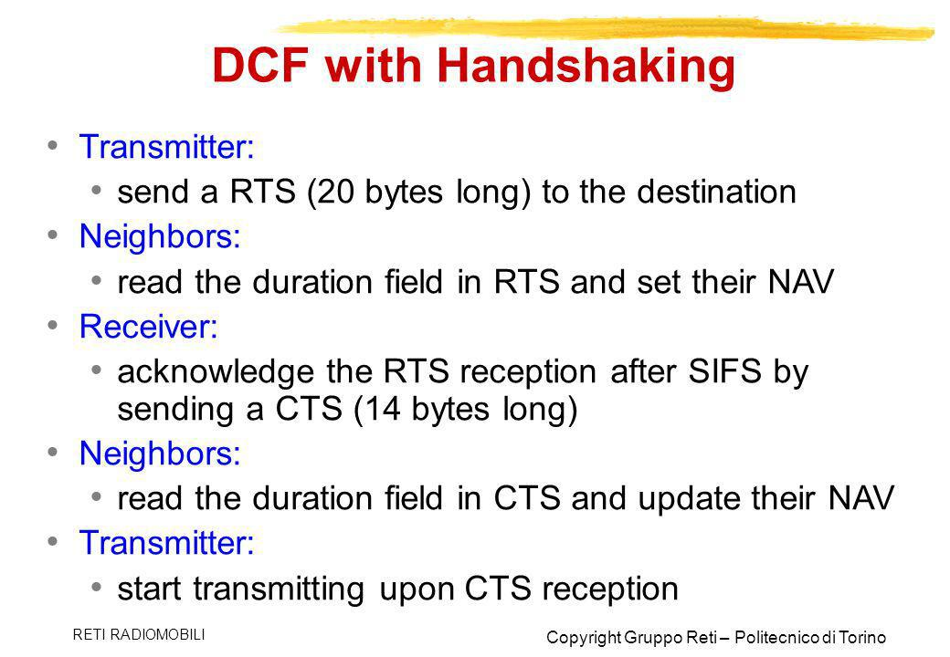 DCF with Handshaking Transmitter: