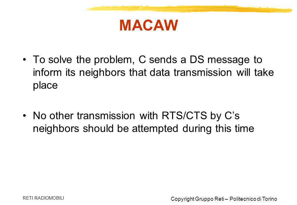 MACAW To solve the problem, C sends a DS message to inform its neighbors that data transmission will take place.