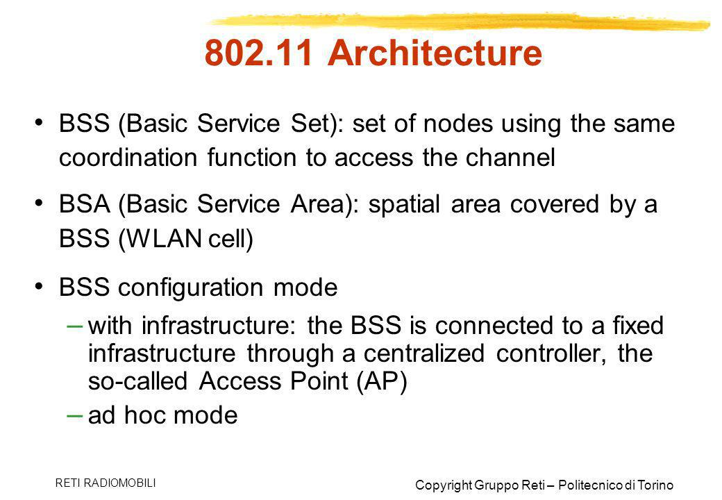 Architecture BSS (Basic Service Set): set of nodes using the same coordination function to access the channel.