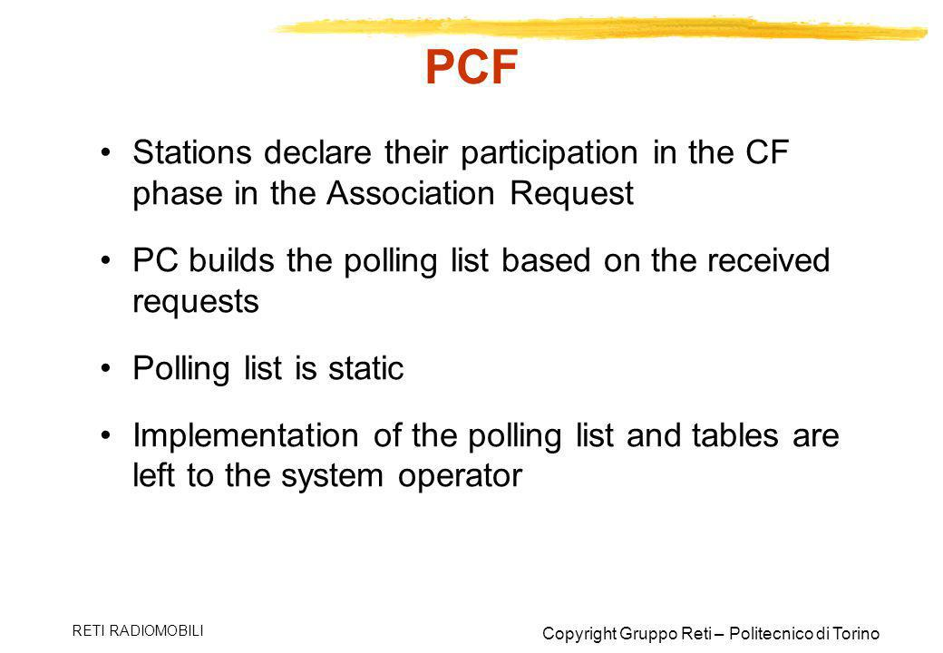 PCF Stations declare their participation in the CF phase in the Association Request. PC builds the polling list based on the received requests.