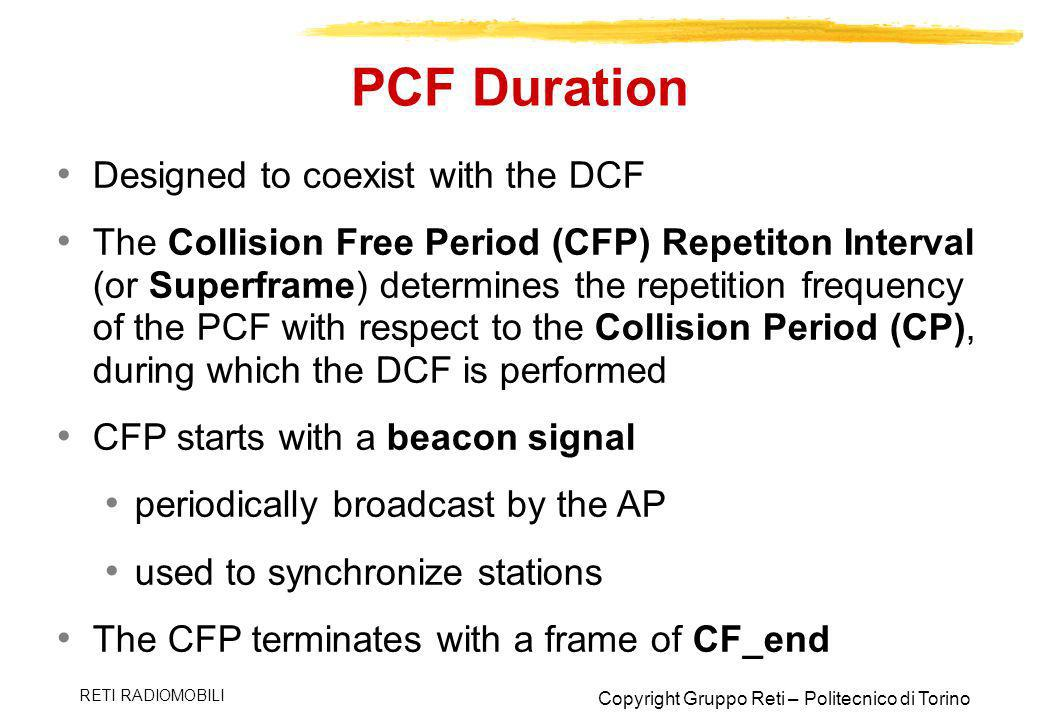 PCF Duration Designed to coexist with the DCF