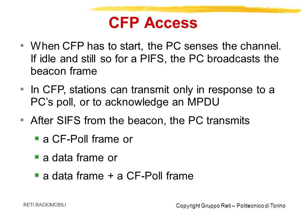 CFP Access When CFP has to start, the PC senses the channel. If idle and still so for a PIFS, the PC broadcasts the beacon frame.