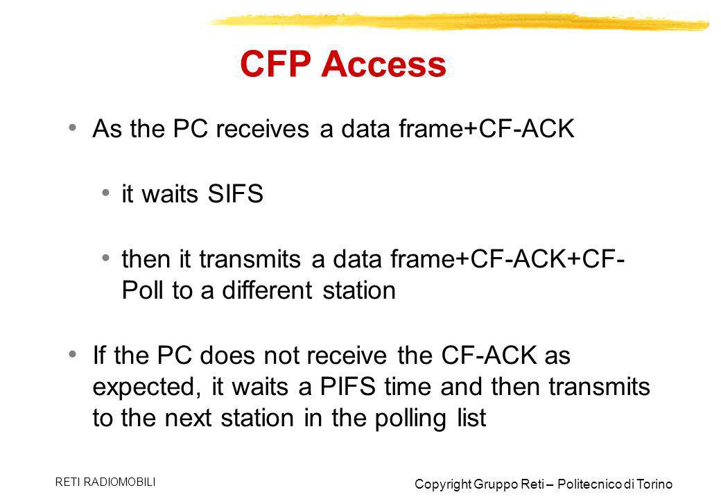 CFP Access As the PC receives a data frame+CF-ACK it waits SIFS