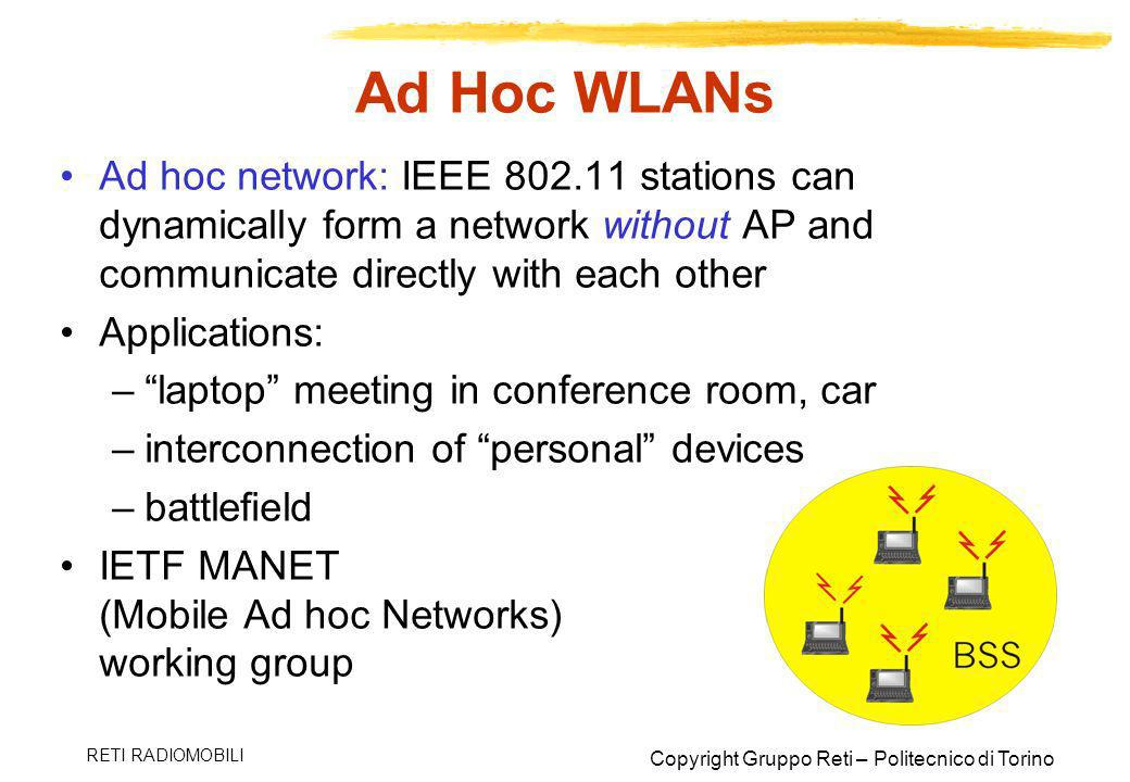 Ad Hoc WLANs Ad hoc network: IEEE 802.11 stations can dynamically form a network without AP and communicate directly with each other.