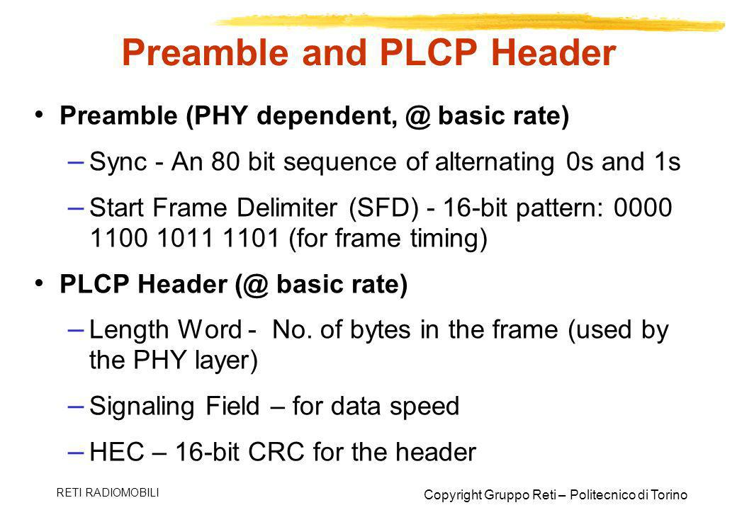 Preamble and PLCP Header