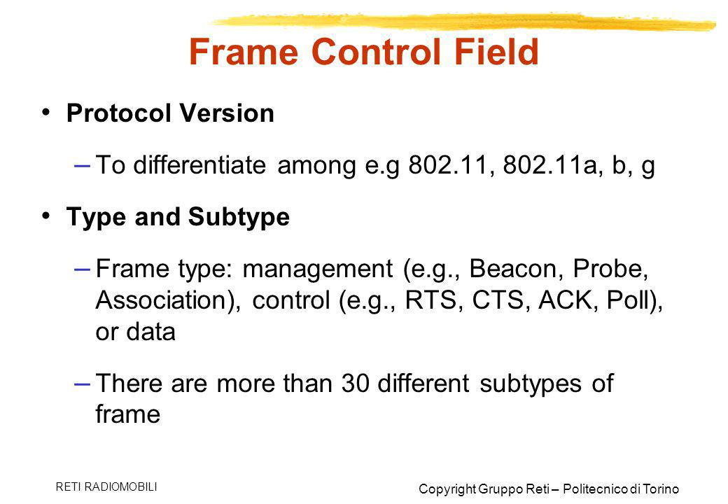 Frame Control Field Protocol Version