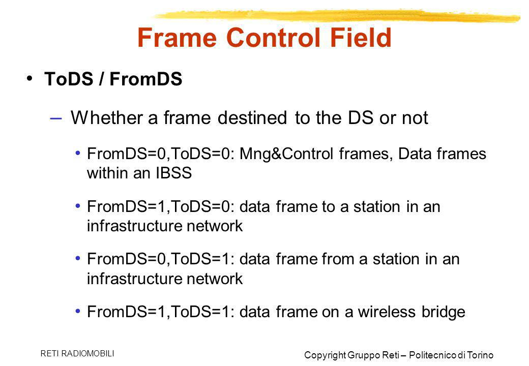 Frame Control Field ToDS / FromDS