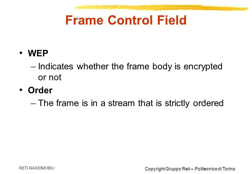 Frame Control Field WEP
