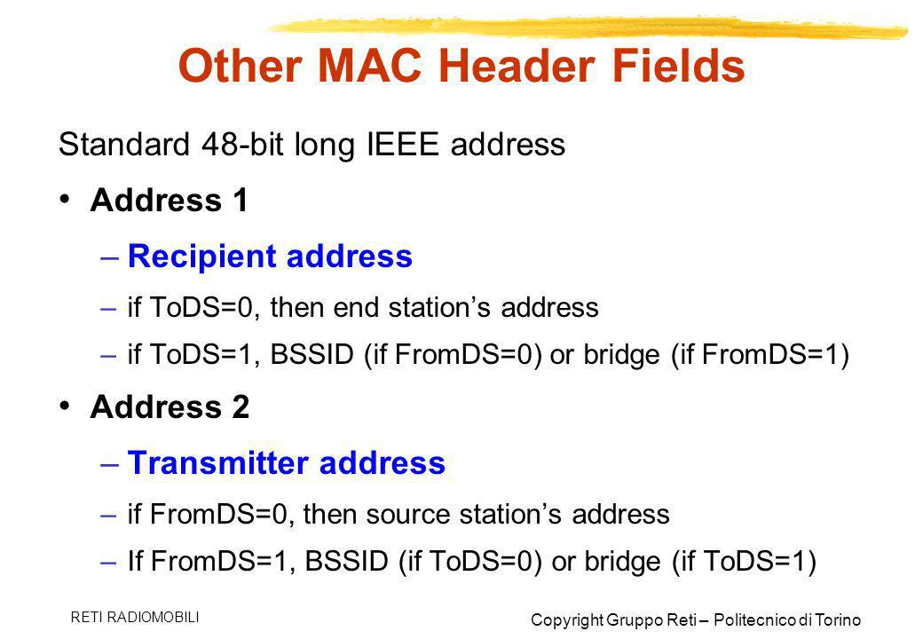 Other MAC Header Fields